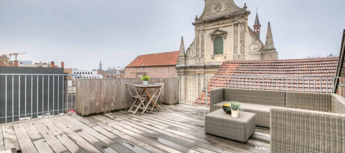 Cosy penthouse met groot terras nabij het Gravensteen